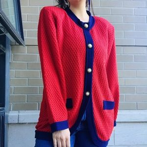 Vintage 80's Red & Navy Cardigan w Pearl Buttons